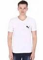 V Neck T-Shirt For Men, 100% Pure Cotton, White