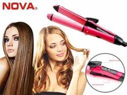 Nova 2 In 1 Hair Straightener N Curler, Pink, for Household