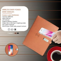 WIRELESS DIARY POWER BANK 5000mAh