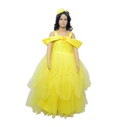 Stitched Yellow Party Designs Kids Wear Frocks, Age Group: 5-10 Year