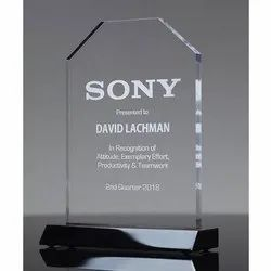 Rectangular Printed Glass Award Trophy, For Office