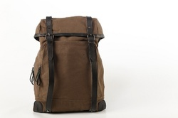 Mon Exports Brown Waxed Canvas Backpack