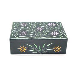 Black Soapstone Box with Leaf Etching
