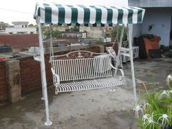Stainless Steel Modern Three Seater Outdoor Swing