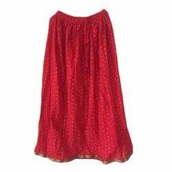 Long Printed Ladies Polk Dot Cotton Skirt, Size: S-XXL