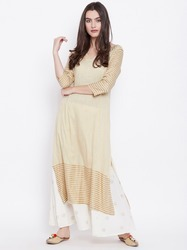 Stitched Straight Exclusive Beautiful Designer Rayon Slub Cream Color Stylish Kurti