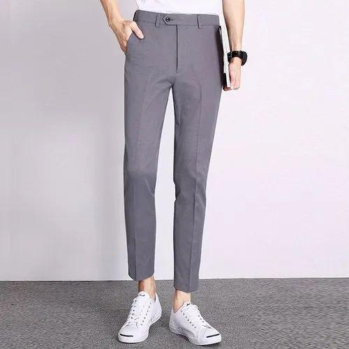 Polyester Viscose  Grey Mens Formal Pant