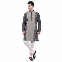 Party Wear Embroidered Reme Men Straight Cotton Kurta Grey in Color, Chinese, Size: S M L XL XXL 3XL