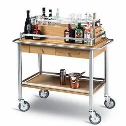Stainless Steel, Wooden Mobile Beverage Trolley