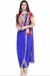Royal Blue and Red Drape Style Readymade Suit