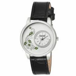 Black Leather Mens Wrist Watch