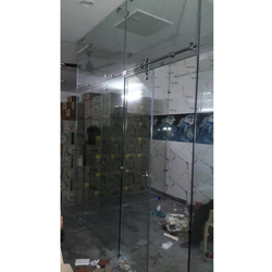 Plain Bathroom Shower Glass Partition, Shape: D-Shaped