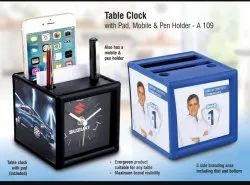 Pen Stand with Table Clock & Pad for Office