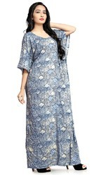 Women Daily Wear Printed Rayon Soft Cotton Kaftans