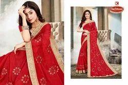 Dyed Shahi Chiffon Embroidery & Diamond work Saree with Lace - ABODH