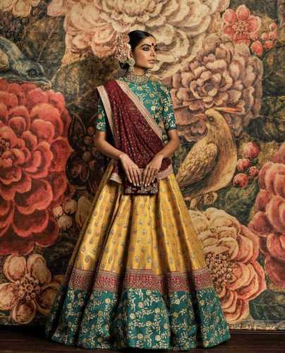 b998081469 Chennai Silk Yellow And Green Wedding Lehenga Choli For Women, Rs ...