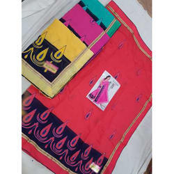 Cotton Embroidery Fancy Saree with Blouse Piece, Saree Length: 6.3 m