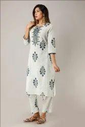 Gaurangi Modern Design Ladies Stylish Cotton Slub Kurti with Pant Set