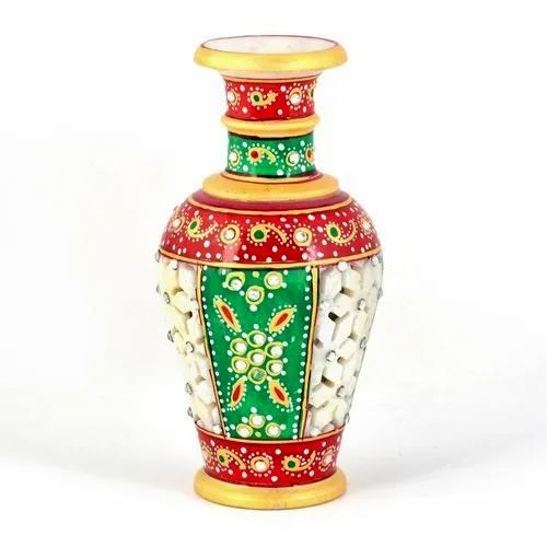 Multicolor Marble Handicraft Flower Pot