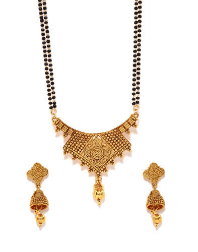 Gold plated mangal sutra pendant earring set gold plated mangal sutra pendant earring set aloadofball Images
