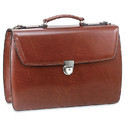 Black & Brown Double Gusset Flap Over Briefcase