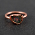 Natural Fire Opal Gemstone Rose Gold Ring