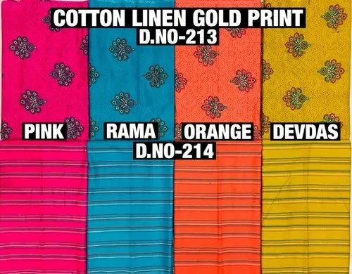Cotton Polyester Linen Gold Printed Fabric