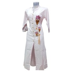 Stitched Rayon. Long Embroidered Kurti, Machine wash