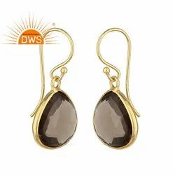 Designer Gold Plated 925 Silver Smoky Quartz Gemstone Pear Drop Earrings Jewelry