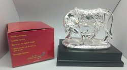 Silver Plated OM Cow and Calf Statue