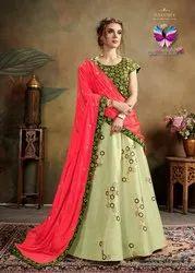 Partywear Green Pure Silk Lehenga