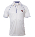 White 100% Polyester Knitted Fabric Sg Cricket White Half Sleeves T-shirt Premium
