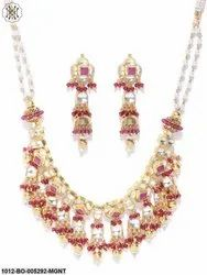 Priyaasi Gold Plated Geometric Shape Kundan And Maroon Stone In Floral Pattern Choker Jewellery Set