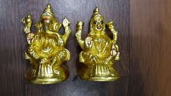 Brass Gurukrupa Golden Touch Gold Ganesh & Laxmi Set