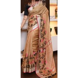 Printed Ladies Designer Party Wear Cotton Sarees, 5.5 M (separate Blouse Piece), Packaging Type: Plastic Bag