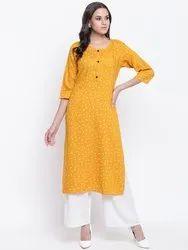 Jaipur Pints Rayon Floral Mustard Straight Kurta