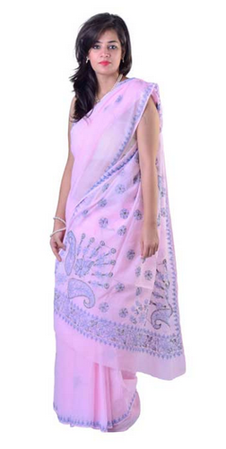 f98315d654 Baby Pink Cotton Chikankari Designer Saree, Chikan Embroidered ...