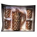 Copper Gift Set Diamond Jug With 4 Glass