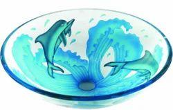 Fish Print Glass Wash Bowl