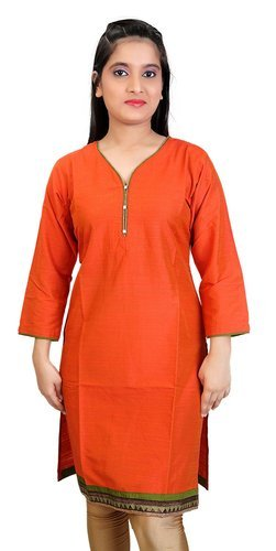 6ec470163b6098 Women Orange Cotton Silk Knee Length Kurti AGSPL 3260, Size: XL & 2XL