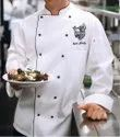 White With Black Piping Unisex Chef Coat