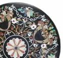 Black Round Marble Inlay Table Top