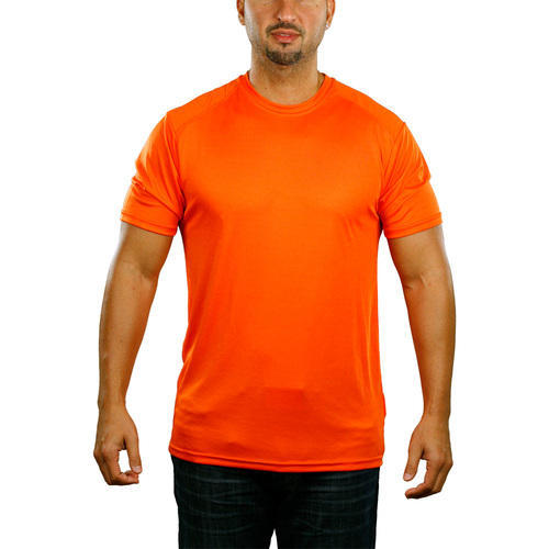 554613449 Dry Fit Polyester Half Sleeve AWG Dry Fit Round Neck T-shirt - Orange
