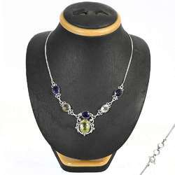 Handcrafted Amethyst Gemstone Silver Necklace