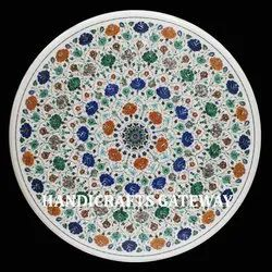 Round Stone Inlay Pietra Dura Table Tops