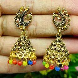 Golden Jhumkis Ladies Trendy Brass Earrings