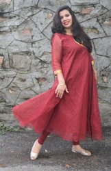 Kamayaa Clothing Red Kota Doriya Lines Kurti with Golden Stripes