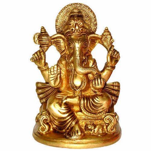 Brass Golden (Gold Plated) Golden Ganesha Statue, Rs 800 /kilogram | ID:  15946324048