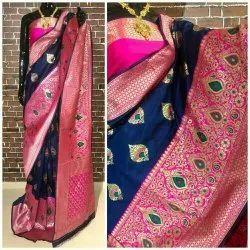 Embroidered Festive Wear Banarasi Silk Saree, 5.5 m (separate blouse piece), With Blouse Piece