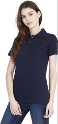 Navy Blue Polo Neck Half Sleeves T Shirts